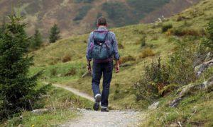 אדם מטייל לטבע